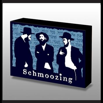 3 Jewish Hasids Schmoozing Wood Art Panel
