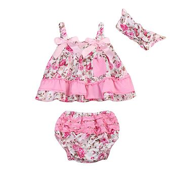 Newborn Baby Girls Clothes Set Floral Ruffles Tops Sleeveless Cute Shorts Headband Outfits Clothing Set Baby Girl