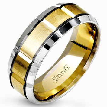Simon G. 14K Two-Tone White and Yellow Gold 8 MM Carved Wedding Band