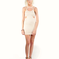 Neutral Cut Out Dress (Small/Indie Brands)