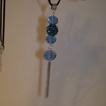 Blue Beaded, Black Leather Choker Necklace, Blue Acrylic Beads and Silver Chain Tassel, OOAK Necklace