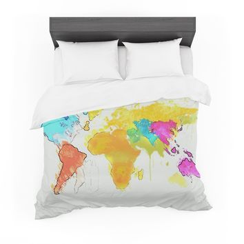 "Oriana Cordero ""World Map"" Rainbow White Featherweight Duvet Cover"