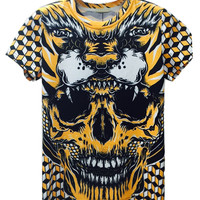 Yellow Geometric Howling Tiger And Skull Printed T-shirt