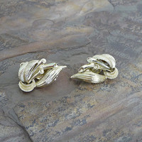 Vintage Gold Tone Leaves Branches Clip on Earrings , Clip On Earrings, Gold Clip Earrings, Gold Clip On Earrings, Womens Accessories, E035