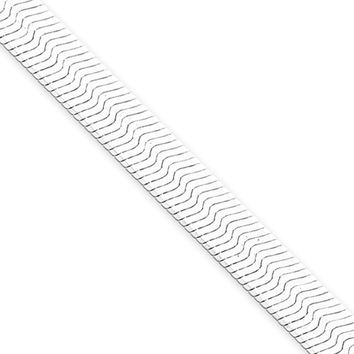 Men's 7mm, Sterling Silver Solid Herringbone Chain Bracelet, 8 Inch