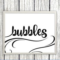 Printable Bubbles Sign for wedding or event - classic elegant swirly black and white bubbles printable download - download and print today