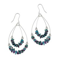 Sterling Silver Turquoise and Amethyst Chip Double Swing Drop French Wire Earrings