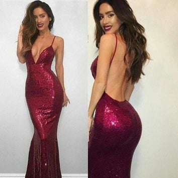 Spaghetti V-neck Backless Sequin Long Mermaid Prom Dresses F5268