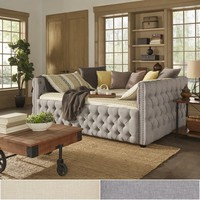 Knightsbridge Queen Size Tufted Nailhead Chesterfield Daybed and Trundle by SIGNAL HILLS | Overstock.com Shopping - The Best Deals on Beds