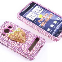 Smile Case 3D Strawberry Design Bling Rhinestone Crysal Jeweled Snap on Full Cover Case for Sprint HTC EVO 4G (EVO-3D Strawberry)