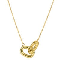 14K Yellow Gold Shinny And Matt Finish Interconnected Oval Element Links On 18 Inch Necklace