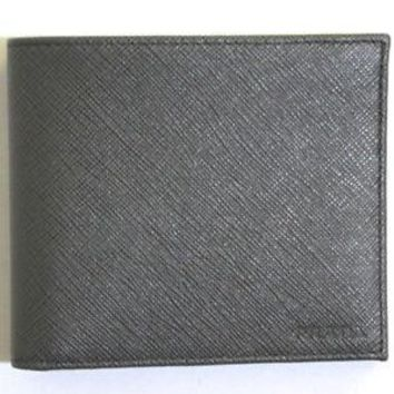 Prada Saffiano Gray Leather Men's Billfold Bi fold Wallet 2MO513