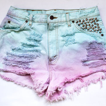 pastel aqua purple and pink ombre / Levi's by todyefordenim