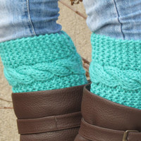 Knitted Boot Cuff Woman - Mint Short Cable Knit Boot Cuffs. Short Leg Warmers. Crochet Boot Cuffs.Aqua Mint Legwear - Boot Socks