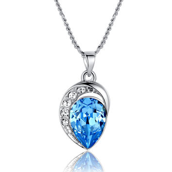 Moonlight Teardrop Swarovski Elements Crystal Pendant Necklace - Ocean Blue
