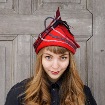 Unique felted hat, red hat with fancy tip and little dreadlocks, designers Avant Garde hat, OOAK