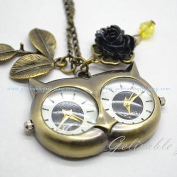 Owl Pocket Watch Necklace-Owl head big eyes two dail pocket watch with leaf and black rose pendant NWO06