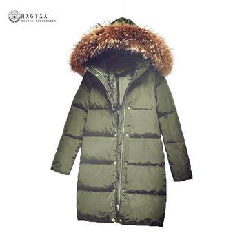 2017 New Women Down Coat Fur Collar Hooded White Duck Down Jackets Solid Color Female Outerwear Medium-long Winter Coats OK941