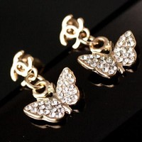 8DESS Chanel Butterfly Women Fashion Diamonds Stud Earring