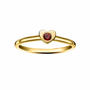 Heart Stacking Birthstone Rings - 14K Gold