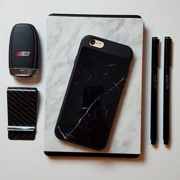 REAL MARBLE Case for iPhone 6 / 6s. Made of authentic, natural Italian marble. Choose from Black OR White. Free U.S. Shipping. Great Gift!