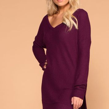 Stay True Plum V-Neck Waffle Knit Sweater Top