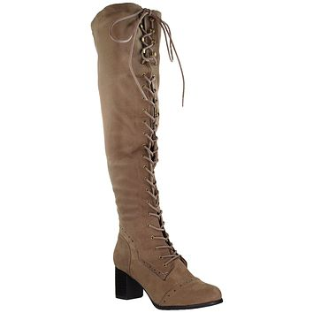Womens Lace Up Block Heel Over the Knee Boots Taupe