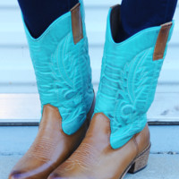 Cowgirls Don't Cry Boots: Teal | Hope's