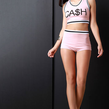 High Waisted Contrast Stripe Brief Shorts