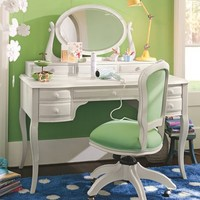 Lilac Desk & Vanity Mirror Hutch