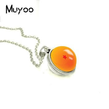 2018 New Dragon Ball Z Stars Double Sided Pendant Japanese Anime Necklace Handmade Jewelry Glass Dome Cabochon Necklaces