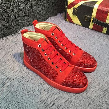 Sale Christian Louboutin CL Louis Strass Bling Blin Red Men's Women Flat Shoes Boots