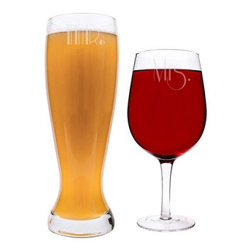 Mr. & Mrs. Gatsby XL Beer and Wine Glass Set