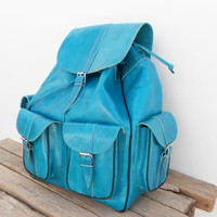 Leather Turquoise Extra Large backpack, satchel bag Handmade Soft Leather School College Travel Picnic Weekend bag