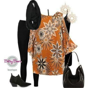 (pre-order) Set 817: Mustard Geo Flower Tunic (bag and shoes sold separately)