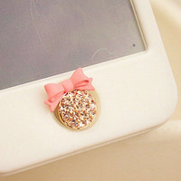 1 pcs  Bling Crystal Bowknot iPhone Home Button Sticker for iPhone 4,4s,4g, iPhone 5, iPad, Cell Phone Charm