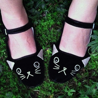 Cat Shoes - Embroidered Kitty Flats Mary Janes