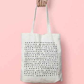 Geometric Tote Bag Dots - Canvas Tote Bag - Printed Tote Bag - Market Bag - Cotton Tote Bag - Large Canvas Tote - Funny Tote Bag Dots