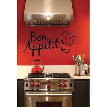 Bon Appétit, Removable Wall Art Vinyl Graphic Decal - Home Decor Vinyl Mural
