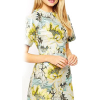 Floral Pattern Crew Mini Dress