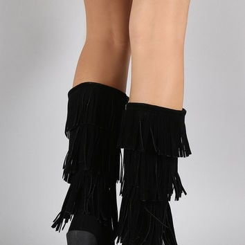 Suede Layered Fringe Moccasin Mid Calf Wedge Boots
