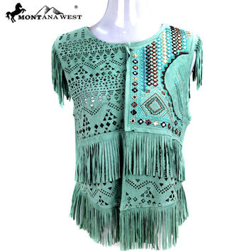Montana West Suede-Like Fringe Short Vest in Turquoise  MWH PCH-1643-TQ
