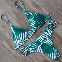 Green Swimwear Swimsuit Women Bandage Beachwear