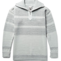 S.N.S. Herning - Fisherman Textured Virgin and Merino Wool-Blend Half-Zip Sweater