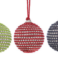 Holiday Red Blue Green Ornaments Ball Set of 3