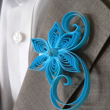 Ocean Blue Boutonniere, Vivid Blue Buttonhole, Bright Blue Wedding Boutonniere, Mens Wedding Boutonnieres