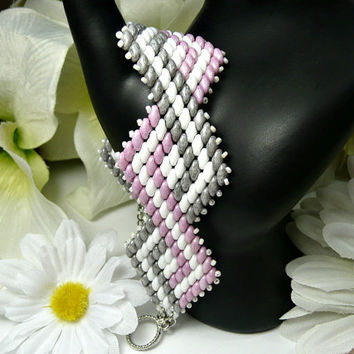 Pink, Grey and White Super Duo Beaded Bracelet