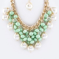PEARL & BEAD STATEMENT NECKLACE SET