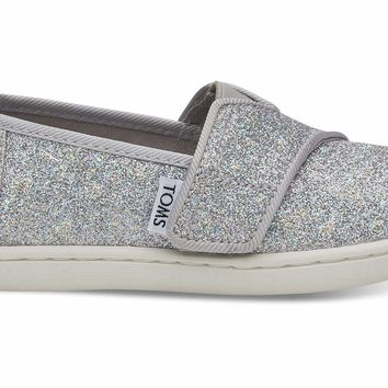 TOMS - Tiny Classics Silver Iridescent Glimmer Slip-Ons