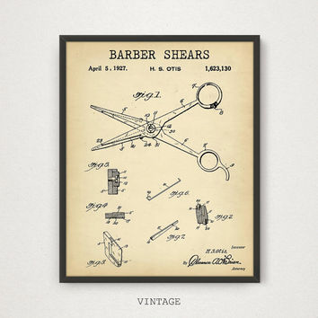 Barber Shears Patent Print, Barber Shop Decor, Antique Scissors Printable, Hairdresser Beauty Technician, Barber Shop Wall Art Barber Poster
